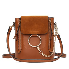 Ring Chain Design PU Bucket Crossbody Bag