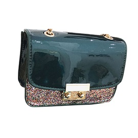 Color Block Shining Sequins Chain Shoulder Bag