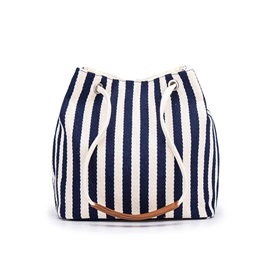 Canvas Thread Stripe Barrel-Shaped Shoulder Bags
