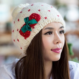 Bowknot Decorated Warm Knitted Hat