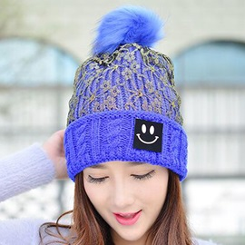Smiling Face Applique Lace Patchwork Knitted Hat