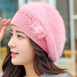 Cute Bowknot Embellished Women's Knitted Hat