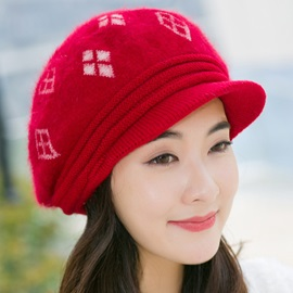 Rhombus Pattern Rabbit Hair Women's Knitted Hat