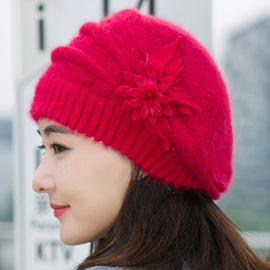 Graceful Rabbit Hair Knitted Beret Hat