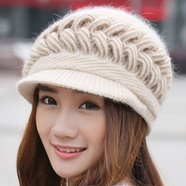 Twist Knitted Warm Short Brim Women's Hat