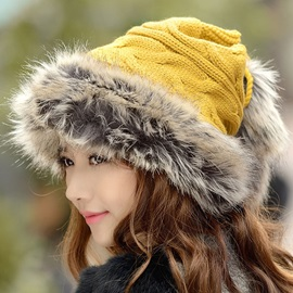 Warm Fluffy Brim Design Knitted Hat