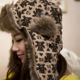 Thicken Printed Earmuffs Women's Bomber Hat