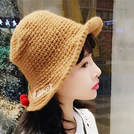 Cherry Woven Warm Dome Fall Winter Student Bucket Hats