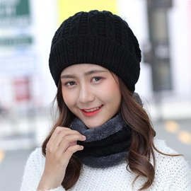 Plain Cashmere Knitting Korean Scarf Set Hats