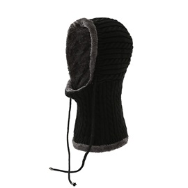 Lace-Up Woolen Yarn Knitted Hat Color Block Hats