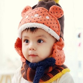 Lovely Bear Design Thicken Kid's Hat & Neck Warmer