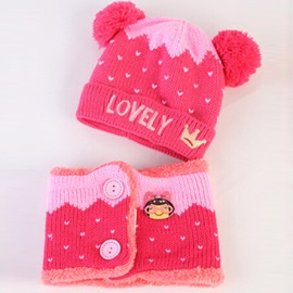Letter Embroidery Warm Baby's Knitted Hat & Neck Warmer