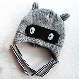 Winter Eye Decorated Kid's Knitted Cap