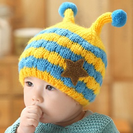 Stars Applique Little Bee Design Kid's Hat