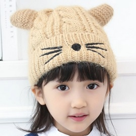 Little Cat Design Knitted Hat for Kid