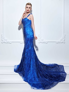 Straps Appliques Sequins Mermaid Lace Evening Dress