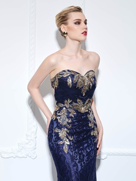 Amazing Back Sweetheart Sequins Mermaid Lace Evening Dress