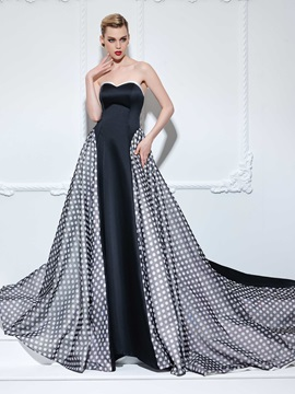 Fashion Sweetheart Polka Dots A-Line Long Evening Dress
