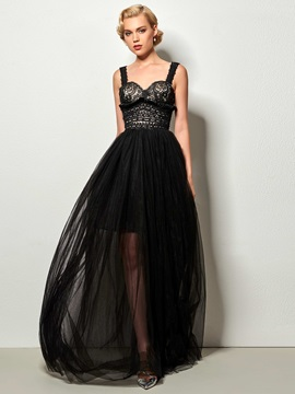 Elegant A-Line Straps Hollow Lace Evening Dress