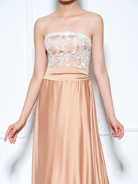 Strapless Sashes Chapel Train Lace Evening Dress