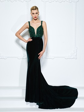 Velvet Straps Sequins Crystal Mermaid Evening Dress