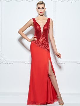 Exquisite V-Neck Appliques Sequins Sheath Evening Dress