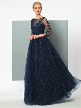 Gorgeous A-Line Scoop 3/4 Length Sleeves Appliques Sequins Evening Dress