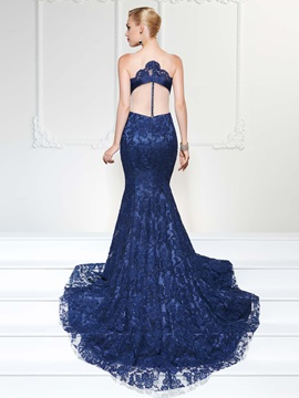 Hot Sale Trumpet Scoop Button Lace Court Train Evening Dress