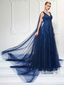 Elegant A-Line V-Neck Appliques Lace Evening Dress