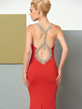Concise Scoop Mermaid Beaded Brush Train Evening Dress