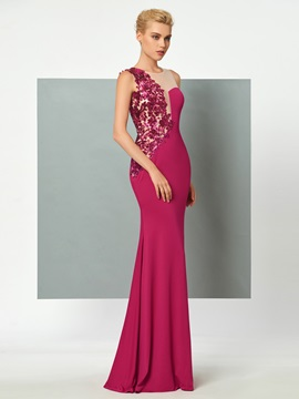 Elegant Jewel Sheath Appliques Sequins Floor-Length Evening Dress