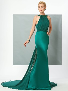 Elegant Halter Mermaid Beading Ruched Backless Court Train Evening Dress