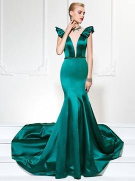 Elegant Mermaid Jewel Cap Sleeves Beading Ruffles Floor-Length Evening Dress