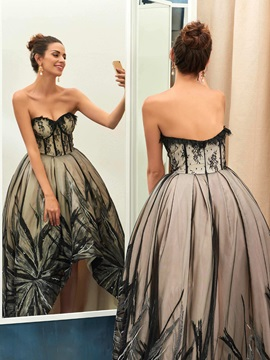 Vintage Sweetheart Ball Gown Lace Sequins Asymmetry Evening Dress
