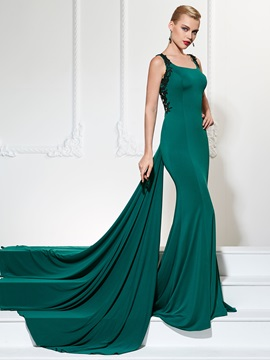 Unique Mermaid Square Appliques Court Train Evening Dress