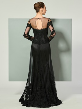 Elegant Illusion Neck Appliques Black Evening Dress