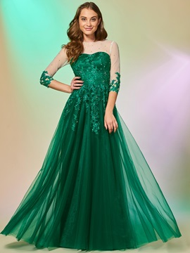 Gorgeous Jewel Appliques Half Sleeves Beading A-Line Lace Evening Dress