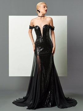 Popular Off-the-Shoulder Sheath Sequins Watteau Train Evening Dress
