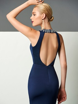 Fancy Halter Sheath Beading Split-Front Backless Floor-Length Evening Dress