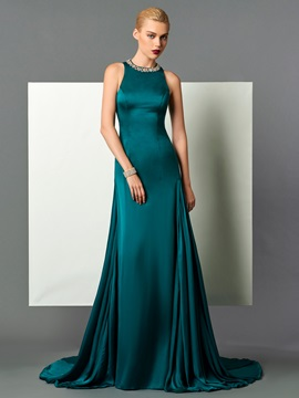 Fancy Jewel Neck A-Line Beading Court Train Evening Dress