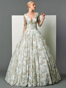 Vintage V-Neck Ball Gwon 3/4 Length Sleeves Printed Floor-Length Evening Dress