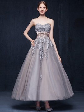 Vintage Sweetheart A-Line Appliques Sashes Ankle-Length Evening Dress