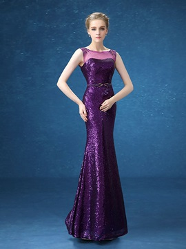 Fancy Mermaid Bateau Beading Sequins Long Evening Dress