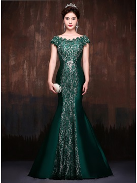 Vintage Mermaid Off-the-Shoulder Lace Court Train Evening Dress
