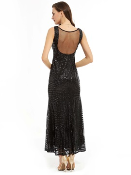 Gorgeous V Neck A-Line Sequins Ankle-Length Evening Dress