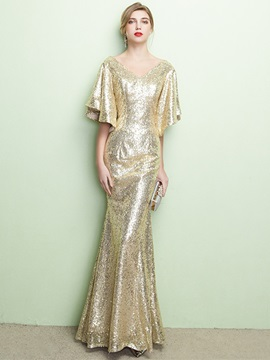 Gorgeous Mermaid V-Neck Short Sleeves Sequins Long Evening Dress