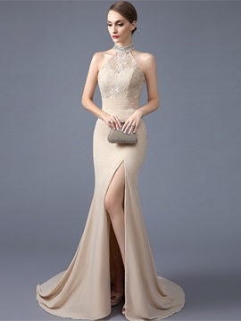 High Neck Beading Mermaid Lace Evening Dress