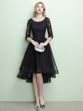 Elegant A-Line Scoop Half Sleeves Appliques Beading Lace Sequins Evening Dress