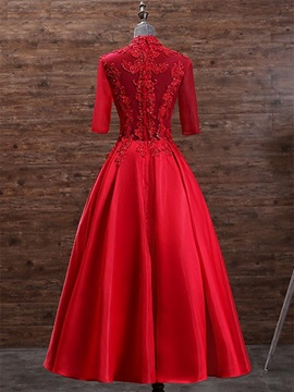 A-Line High Neck Appliques Beading Evening Dress