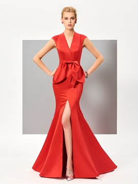 Fancy V-Neck Mermaid Cap Sleeves Bowknot Draped Split-Front Evening Dress